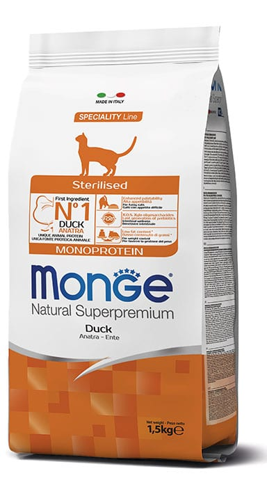 monge gatto secco sterilised monoprotein anatra