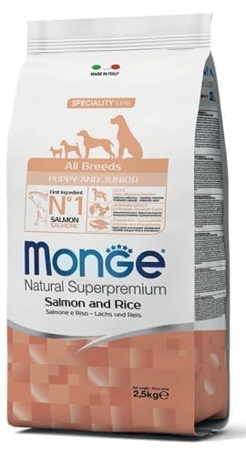 monge cane secco all breeds puppy junior salmone e riso 270x500 1
