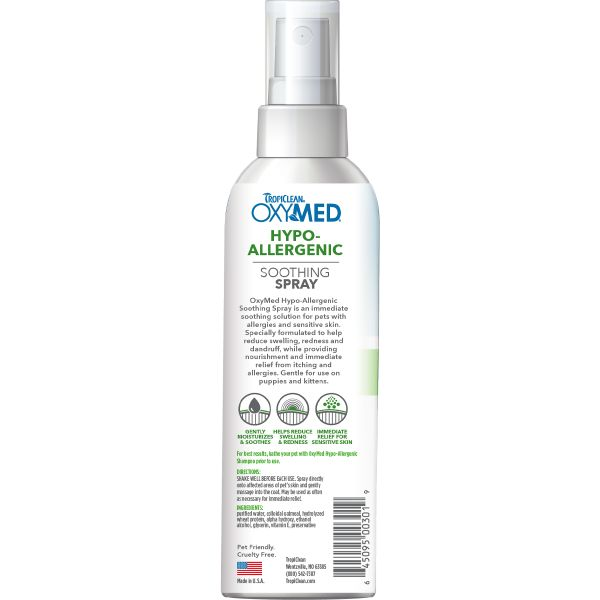 tropiclean oxymed hypo allergenic spray for dogs and cats back